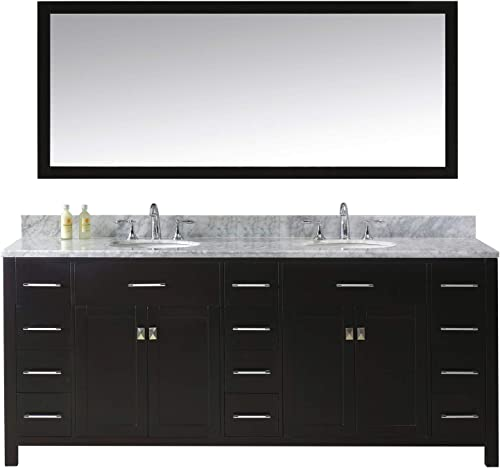 Virtu USA Caroline Parkway 78 inch Double Sink Bathroom Vanity Set in Espresso w Round Undermount Sink, Italian Carrara White Marble Countertop, No Faucet, 1 Mirror – MD-2178-WMRO-ES