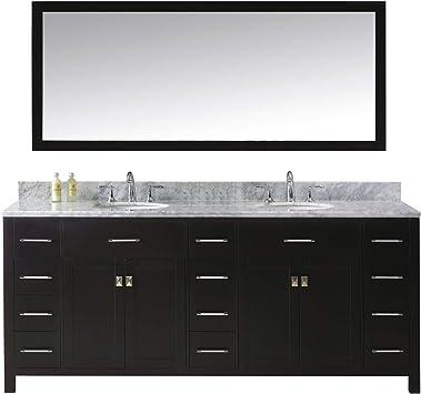 Virtu Usa Caroline Parkway 78 Inch Double Sink Bathroom Vanity Set In Espresso W Round Undermount Sink Italian Carrara White Marble Countertop No Faucet 1 Mirror Md 2178 Wmro Es Vanity Sinks Amazon Com