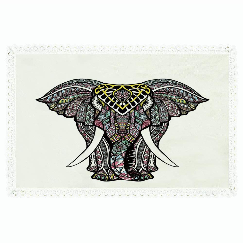iPrint 象曼荼羅 長方形 ポリエステルリネン テーブルクロス 海にインスパイアされた色 インド風 神聖な動物柄 ディナーキッチン ホーム装飾 55インチx72インチ アクアライトブルーとターコイズ 60