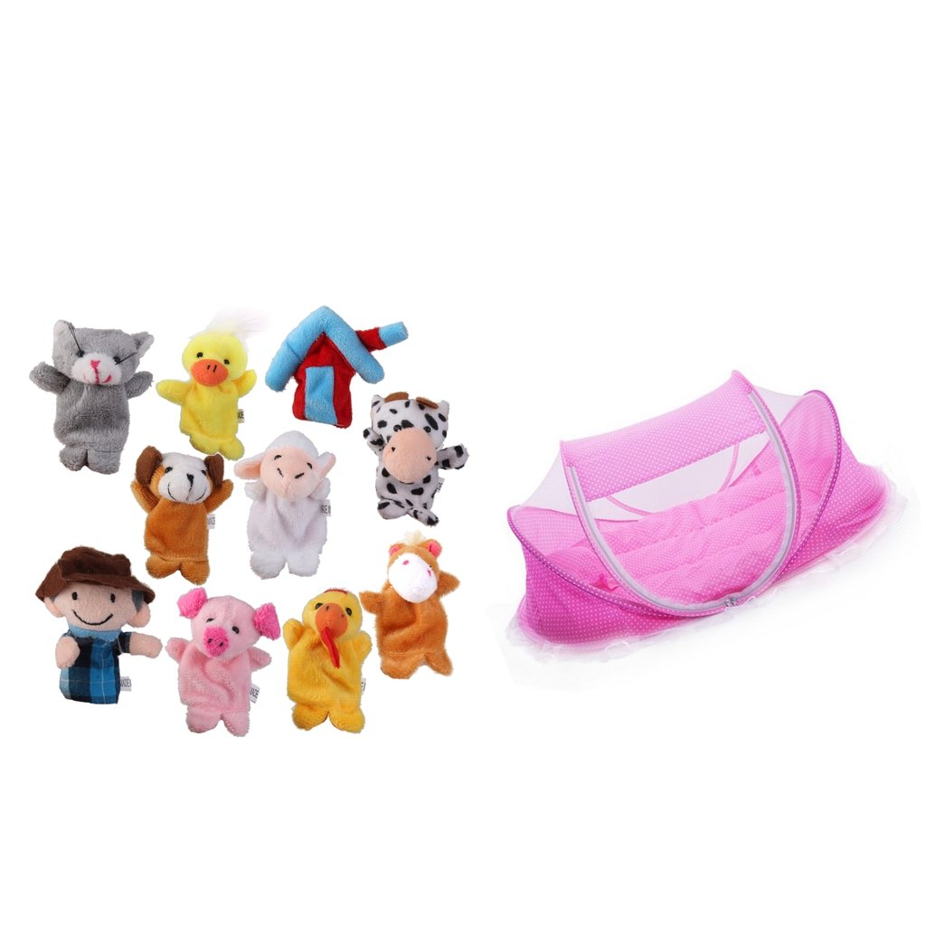 Fityle Baby Travel Bed Portable Folding Mosquito Net Cot Pillow Animal Family Dolls
