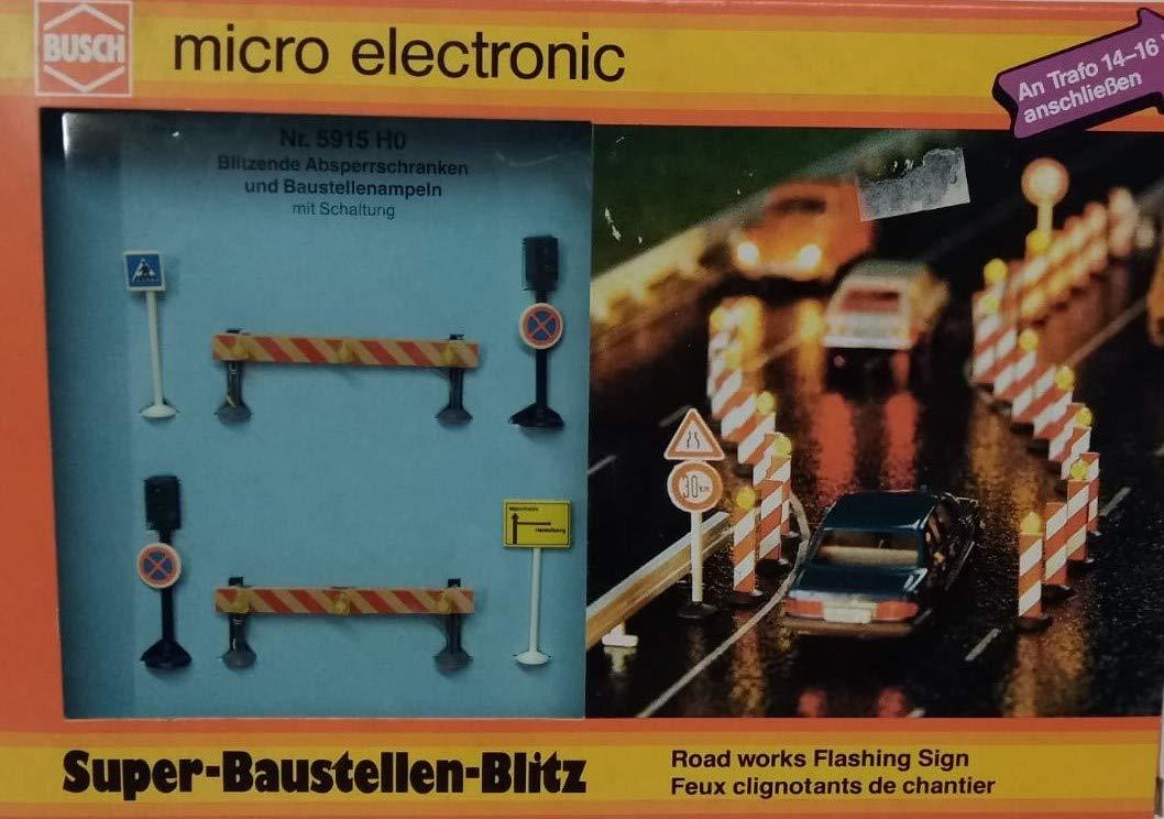 Bush 5915 SEGNALAZIONI Lampeggianti E SEMAFORI per Cantiere Stradale funzionante 14-16 Volt Scala 1 87