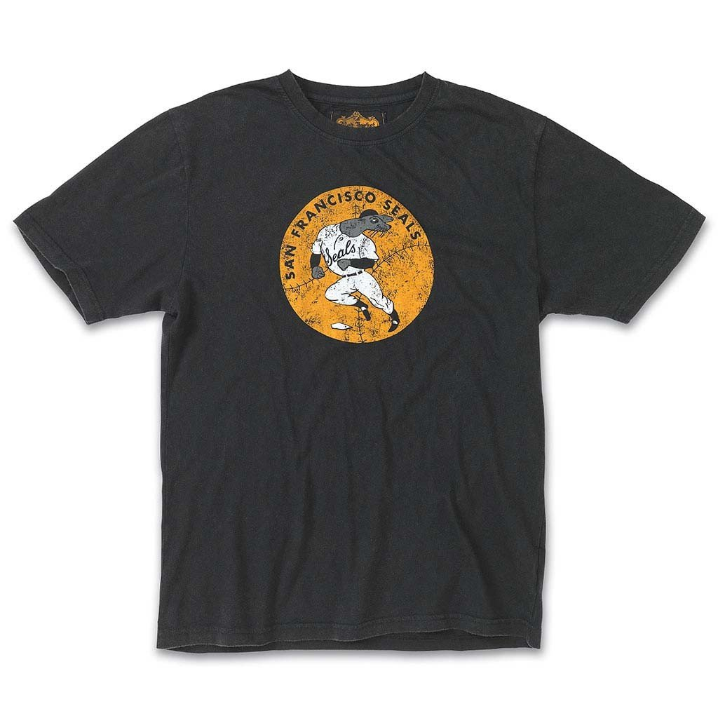 Red Jacket Collection by American Needle Brass Tacks Short Sleeve Cotton T-Shirt, San Francisco Seals, Black, L