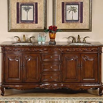 Silkroad Exclusive Baltic Brown Granite Top Double Sink Bathroom Vanity  With Cabinet, 72 Inch