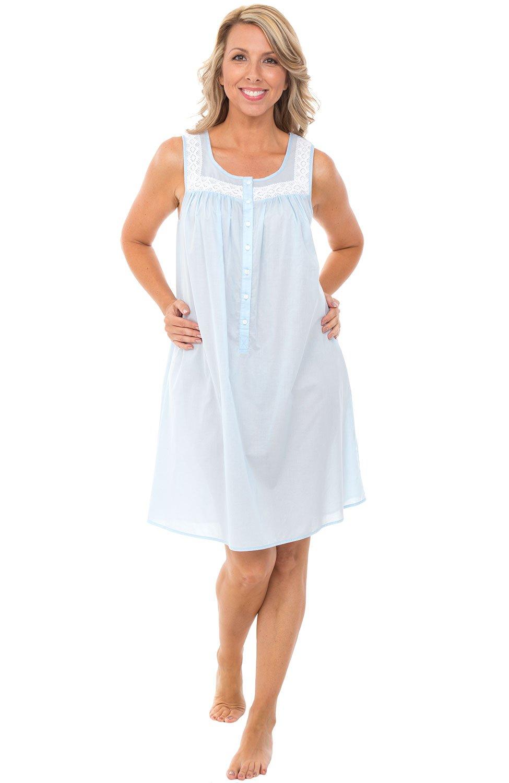 Alexander Del Rossa Womens 100% Cotton Lawn Nightgown, Sleeveless Scoop Neck Sleep Dress, Large Light Blue (A0592LBLLG)
