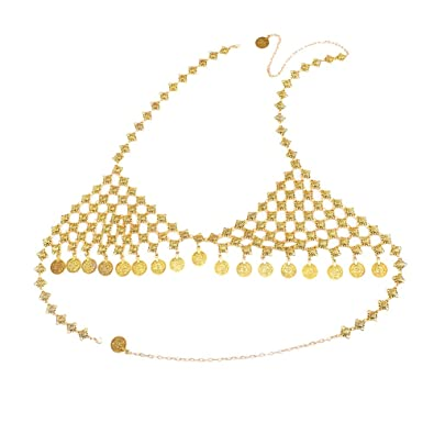 b7825840d4c2d Amazon.com  SANWOOD Gypsy Coin Pendant Bra Chest Chain Belly Waist Chain  Bikini Chest Body Chain for Summer swimsuit (Golden Chest Chain)  Jewelry