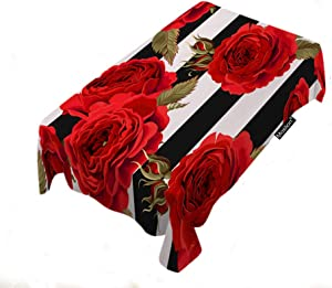 Moslion Roses Tablecloth 60x104 Inch Flower Stripe Blossom Decoration Elegance Garden Leaf Nature Romantic Rectangle Tablecloth Picnic Tablecloth BBQ Table Cloths Polyester for Kitchen