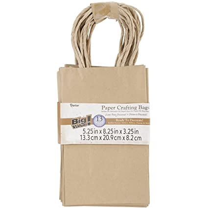 DARICE BAG246 13-Piece 3.25 by 5.25 by 8.375-Inch Paper Bag Kraft, Small