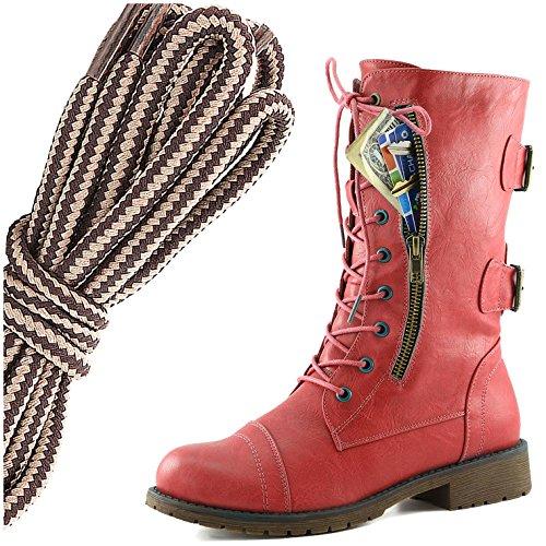 Dailyshoes Femmes Lace Militaire Boucle Boucle Bottes De Combat Mi Genou Haute Carte De Crédit Exclusive Poche, Marron Taupe Élégant Rouge