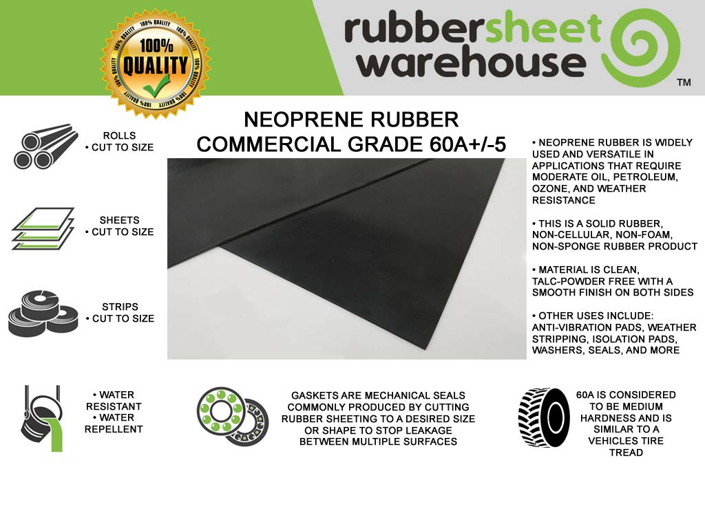 "Neoprene Rubber Commercial Grade 60 A+//-5 .062/"" Thick x 6/"" Wide x 10/' Feet Long"