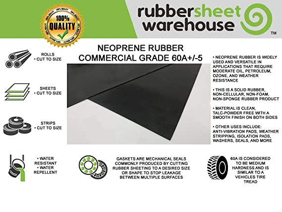 "Neoprene Rubber Sheet Strip 3//32/"" Thick x 4/"" wide x 10/' feet long  FREE SHIPPING"