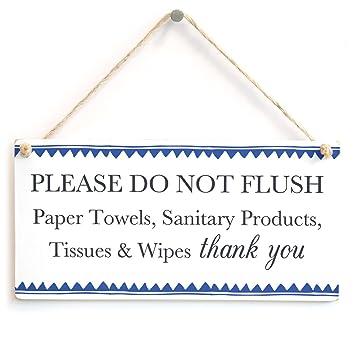 Por favor no Flush toallas de papel, etc. gracias - borde azul tanque séptico gracias señal para baño o para inodoro: Amazon.es: Hogar