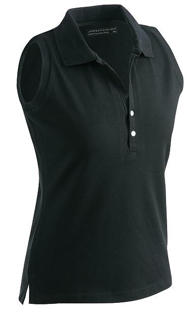 8342fb50aa9adb James   Nicholson JN159 Ladies Stretch Sleeveless Polo Shirt black Size S