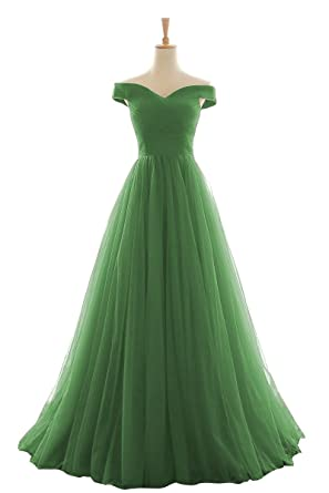 EvaQueen Womens Long Off Shoulder Pleated Tulle Prom Dresses Evening Gowns