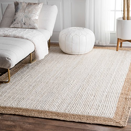 nuLOOM Natural Fibers Border Jute Area Rugs, 3' x 5', White by nuLOOM