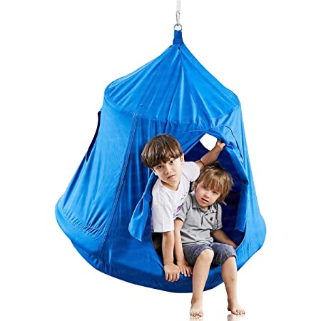Kids Outdoor Waterproof Play Tent Hanging Hammock with Lights String Blue