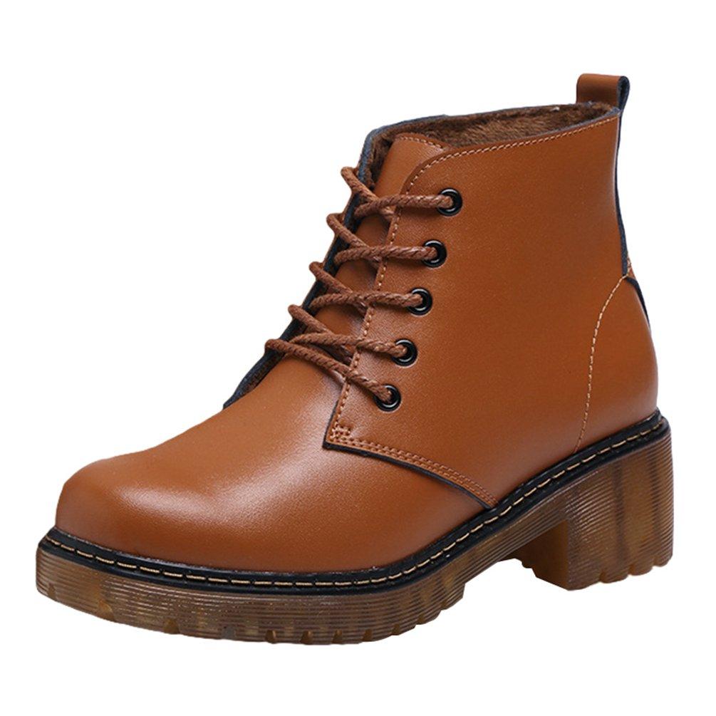 Yiiquan Donna Inverno Classico PU Pelle Neve Stivali Boots caldo Stivali Cavaliere Martin Stivaletti StringatiMarrone