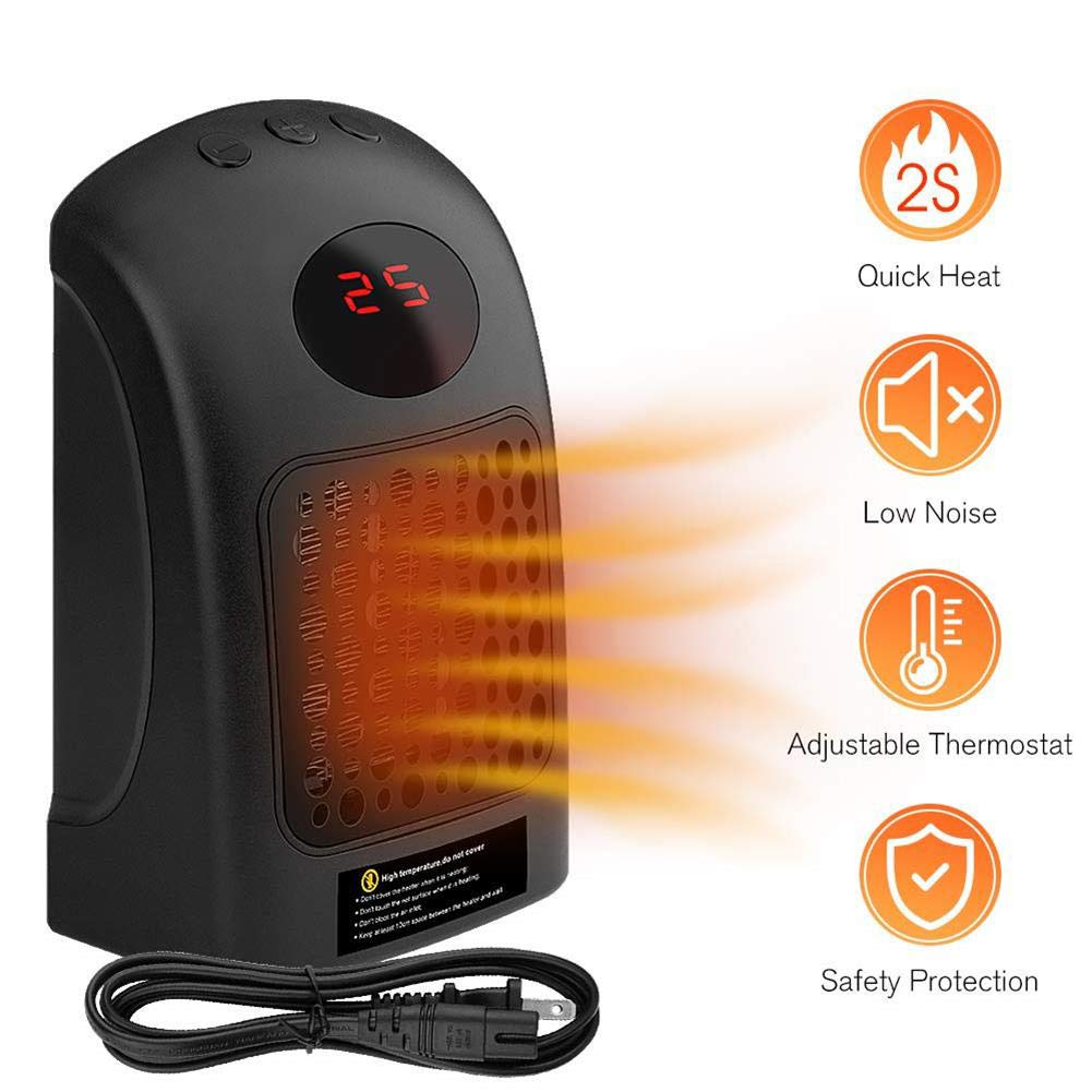 Space Heater Electric Portable Heater Fan Indoor for Home Office Desktop with Adjustable Thermostat Control Over-Heat Protection,900W Mini Ceramic Heater Black