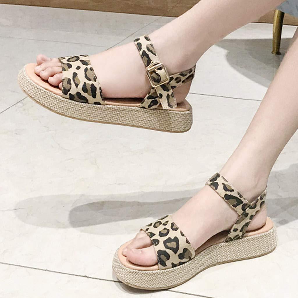 Orangeskycn Women Sandals Ladies Summer Leopard Print Thick Bottom Buckle Strap Solid Color Flat Causal Sandals Plus Size Brown by Orangeskycn Women Sandals (Image #4)