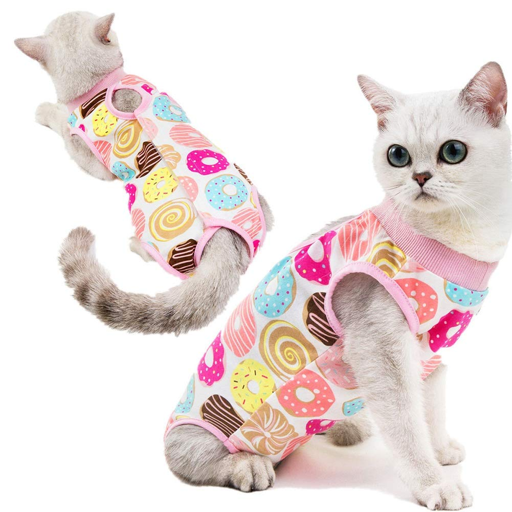 CheeseandU Recovery Suit for Cats Small Dogs Cotton Breathable Soft E-Collar Alternative with Sticker Surgery Suit Ideal for Cats Small Dogs Abdominal Wounds Skin Diseases,Donut Pattern by CheeseandU