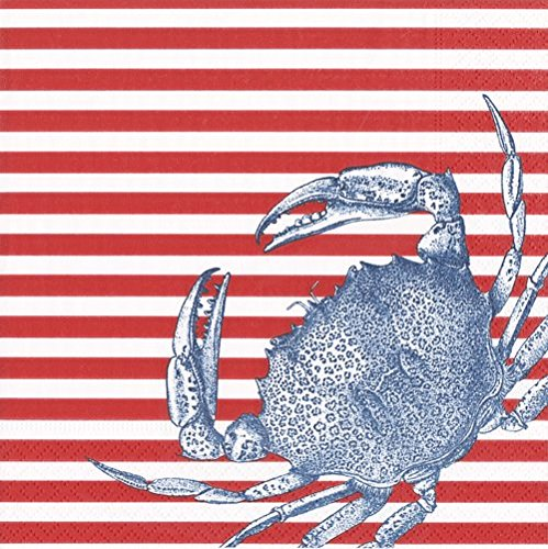 Caspari Napkins Beach Party Clambake Paper Napkins Cocktail Napkins Red Stripe Crab Pk 40 -