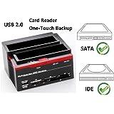 Ronsen 892U External Hard Disk Drive Docking Station - USB 2.0 double baies Lecteur de disque dur Station d'accueil pour disque dur pour 2.5 / 3.5 pouces IDE et SATA I / II HDD SSD avec All-in-1 lecteur de cartes (SD/XD/Micro SD/TF/MS/CF/MD Card) et One Touch Backup, Capacité jusqu'à 2 x 8 To, Tool-Free