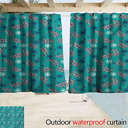 - Window Curtains,Paisley Tribal Inspired Pattern Flower Backgrounded and Floral Designed Inside Print,Rod Pocket Energy Efficient Thermal Insulated,W63x63L Inches,Blue and White
