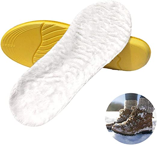 Winter Sheepskin Thick Insoles Fur Warm Pad Replacement For Shoes Boot Men Women