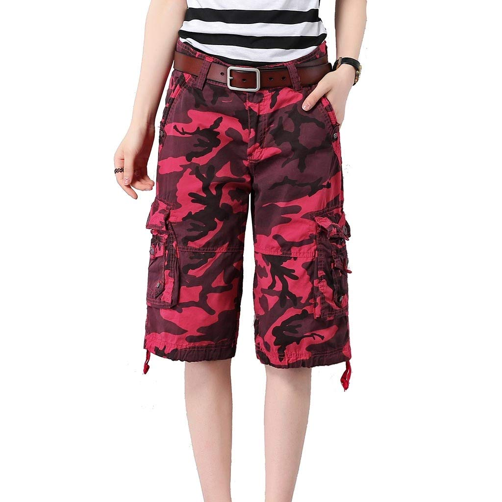 B Women's Camouflage Shorts Casual Pants Tooling Clothes 5 Points Pants Large Size MultiPocket Loose Thin Section Summer 4 colors (excluding Belts) (color   D, Size   28)