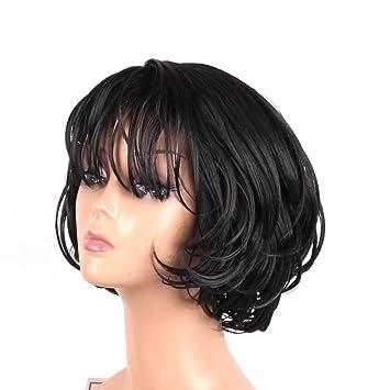 Amazon Com Jiayi Short Bob Wavy Hair Wigs With Bangs For Women