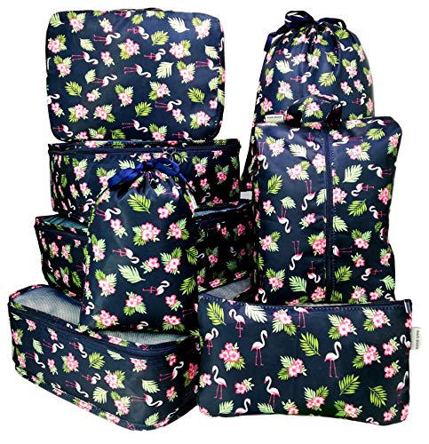 Packing Cubes Backpack Organizers Set for Carry on Travel Bag Luggage Cube (Black Flamingo 8)