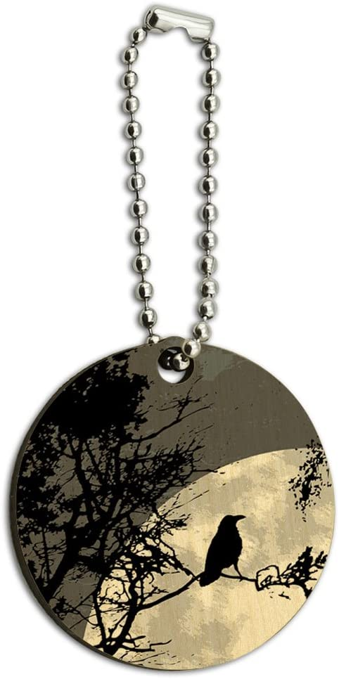 Graphics and More Raven at Night Black Bird Full Moon Wood Wooden Round Key Chain