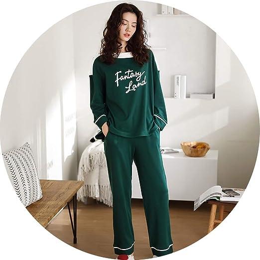 YCDJCS Ropa De Dormir Pantalón De Manga Larga De Algodón For Mujer Traje De Pijama Tallas Grandes Conjuntos De Servicio A Domicilio Cómodo Y Holgado Japonés (Color : B, Size : L):