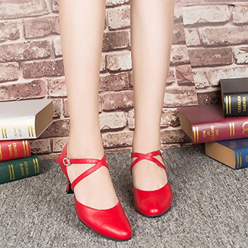 Ankle toe shoes Honeystore New Criss Cross Red Closed Strap Leather Women's Arrival Synthetic Dance xqPCYwSq