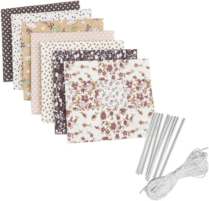 Navy DIY Face Cover Kit Self-Made Face Protector Material Art Sewing Crafts Kit 10pcs Metal Wire Nose Bridge Strip,6m Face Cover Rope Includes 7pcs Different Pattern Face Cover Fabric