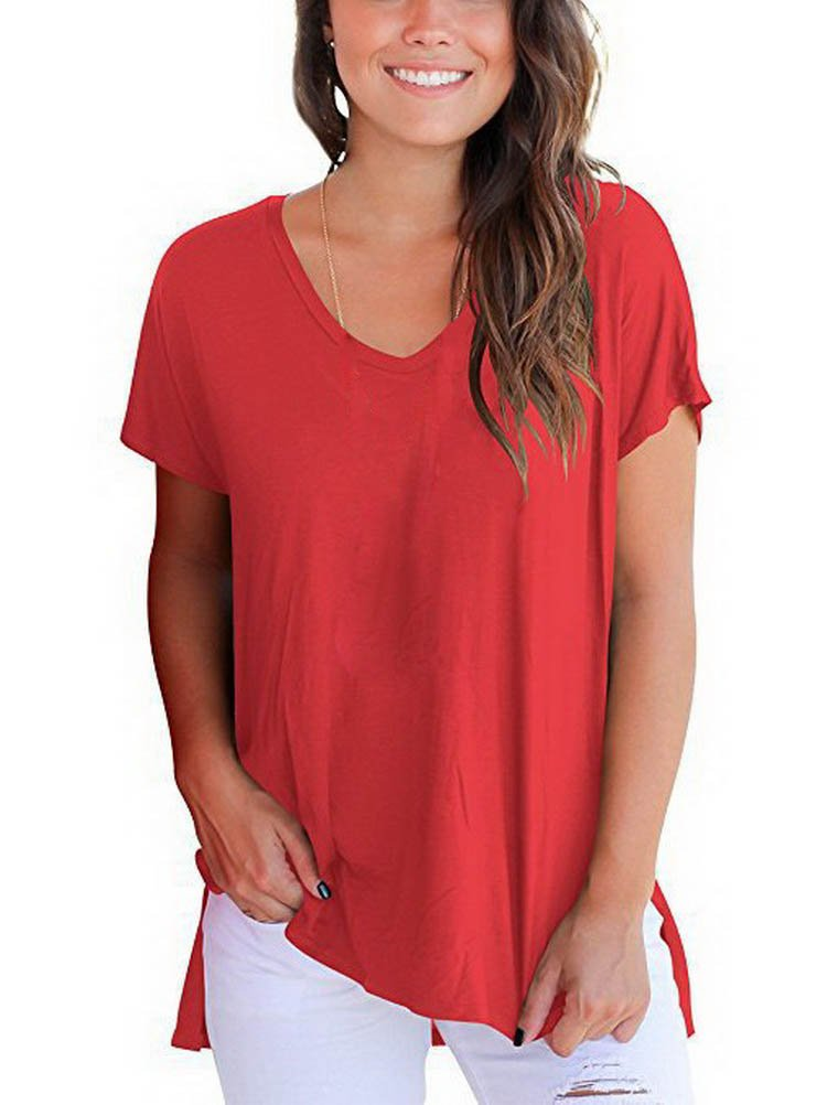 BIUBIONG Women's Short Sleeve Round Neck Tops T-Shirt with Side Slit