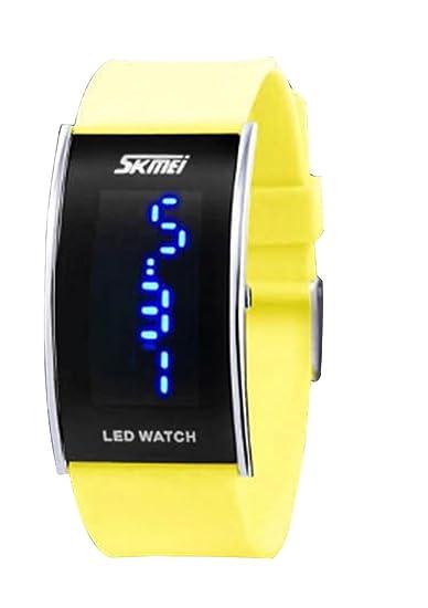 reloj digital del deporte de la manera llevó el reloj de moda único de color amarillo brillante de las muchachas de los hombres de las mujeres reloj de ...