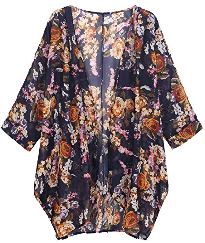 OLRAIN Women's Floral Print Sheer Chiffon Loose Kimono Cardigan Capes (Small, Yellow-1) (Lace Short In Cream)