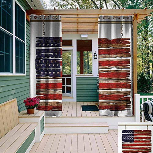 EwaskyOnline Primitive Country,Living Room/Bedroom Window Curtains,United States Flag Painted Wooden Planks 4th of July Design Illustration,Room Darkening Thermal,W84x84L,Multicolor (94 Country With Blue On Its Flag)
