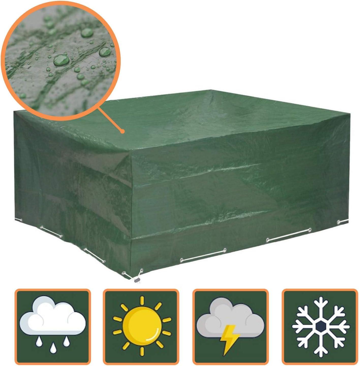 Glorytec Funda Muebles Jardin 200x160x70 - Funda Mesa Jardin con protección Impermeable contra el Viento y Condiciones climáticas - Funda Protectora para mesas de jardín (cuadradas o angulares)