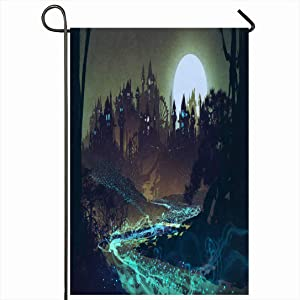 Ahawoso Outdoor Garden Flag 12x18 Inches Watercolor Castle Beautiful Landscape Riverfull Moon Over Painting Nature Architecture Fantasy House Seasonal Home Decor Welcome House Yard Banner Sign Flags