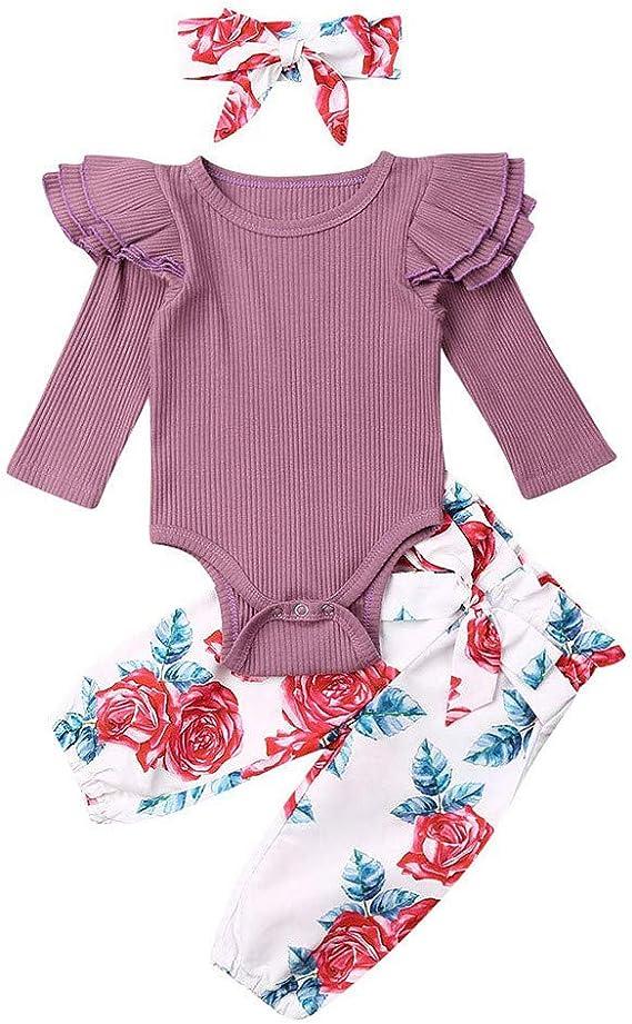 SoundJA - Conjunto de ropa para bebé y niña, de algodón a rayas ...