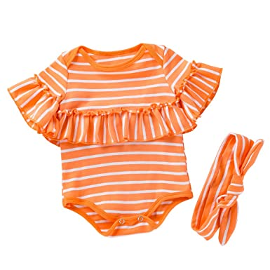 a8079369127 Fineser Newborn Infant Baby Girls Romper Summer Stripe Falbala Jumpsuit  with Headband Outfits (Orange