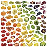 Posters: Cuisine Poster Art Print - Rainbow Collection Of Fruit And Vegetables (28 x 28 inches)