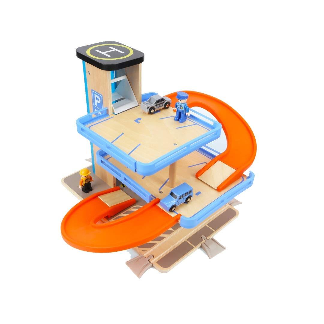 GLJJQMY Simulazione di Bambini in Legno Parcheggio Multipiano Modello di Giocattolo Educativo Assemblato Insieme di Car Roulotte 58x40cm Giocattoli educativi per Bambini