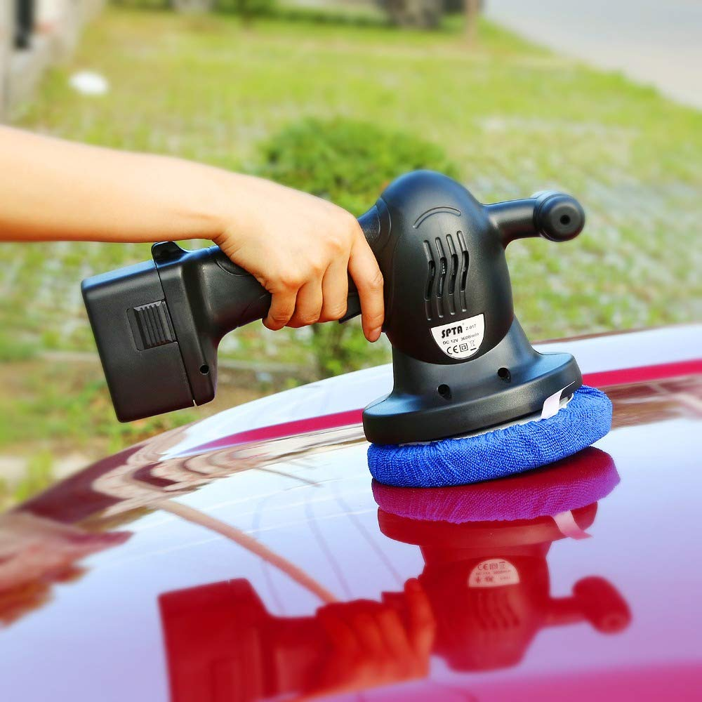 SPTA 5pcs 6inch Terry Cloth Polishing Bonnet Buffer Pad Car Polisher Pad Cover for Car Paint Care Waxing Polishing