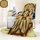 Digital Printing Blanket Tie Dye Thai Motif with Dirty Smear and Rough Stains Mustard Brown Summer Quilt Comforter