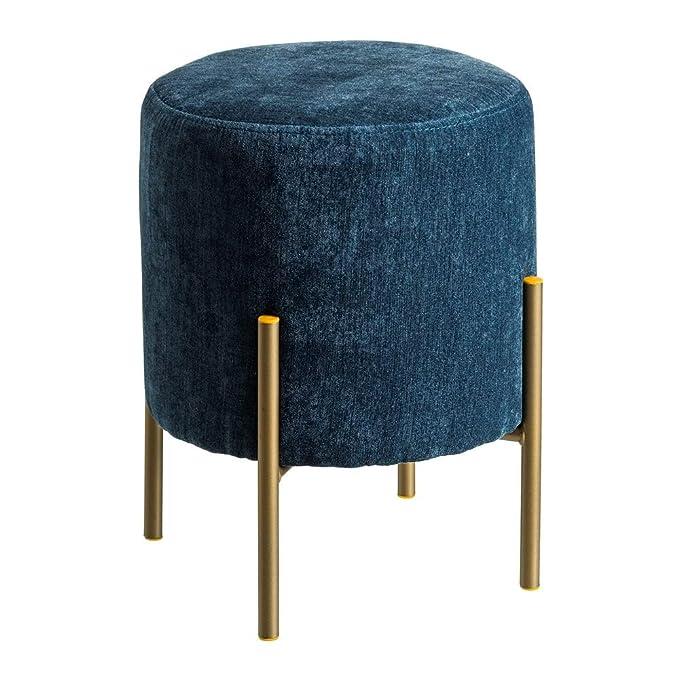 Puff tapizado en Terciopelo Azul Minimalista para salón Iris ...