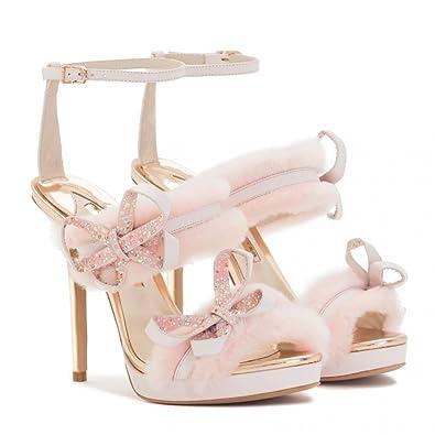 da7e5bca7c3 Amazon.com | SOPHIA WEBSTER Bella Faux-Fur Ankle-Wrap Sandal 37 ...