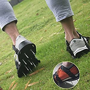 "MICHLEY Grass Nail Shoes Cover Spring Lawn Treatment Lawn Aerator Shoes Protect Your Lawn Roots (Nail length 1"")"