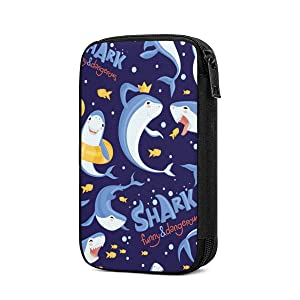 Shark Sea Ocean Fish Blue Storage Packing Cubes Travel Accessories With Multi-Functional Toiletry Bag Cable Organizer Bag